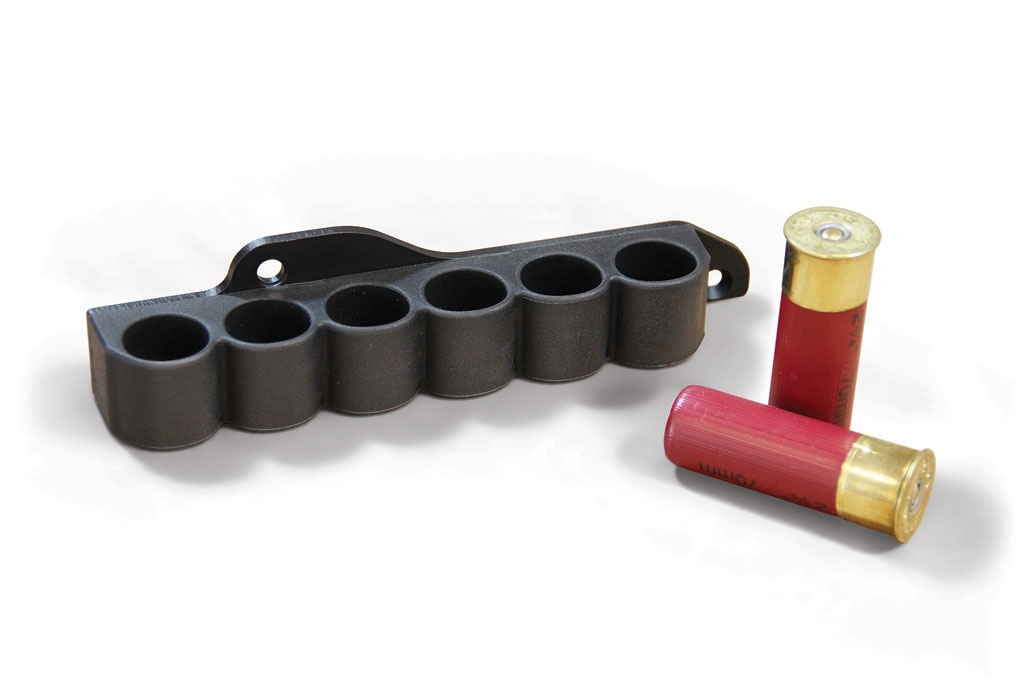 Receiver Mounted Shell Carrier for Mossberg pump action shotguns.