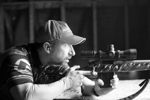 Dan Hanus at the range with one of his custom rifles